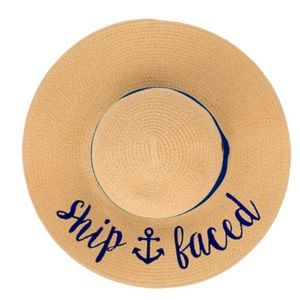 SHIP FACED Wide Brim Floppy Beach Sun Hat NWT